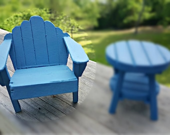 Miniature Wooden Adirondack Chair - Summer Blue