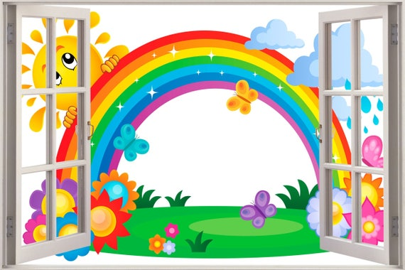3D Window Rainbow Wall Decal by 5StarGroup