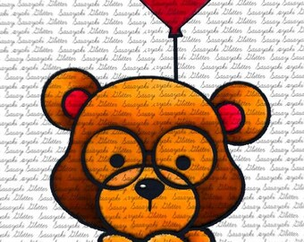 Teddy and Balloon Digital Stamp by Sasayaki Glitter
