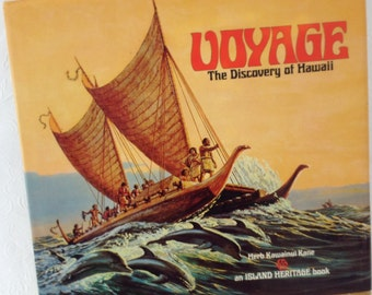 Herb Kane Voyage The Discovery of Hawaii - first Edition - 1976 - vintage book - historical - Island Heritage - coffee table book
