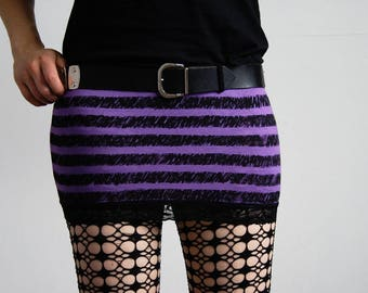 """Miniskirt """"Purple Stripes & Lace"""" - striped punk/goth skirt in black and violet"""