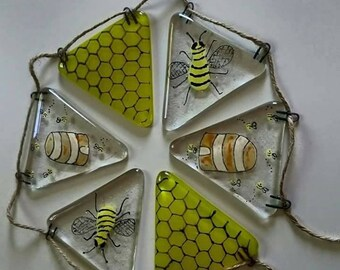 Bee and Bee Hive Fused Glass Bunting, Handmade, Bee lover, bee hive, bee keeper, Hanging Bunting