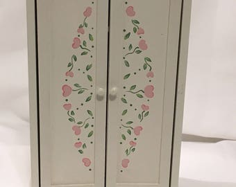 """Dollhouse Miniature 1"""" Scale Hand Painted White Armoire  (JC)"""
