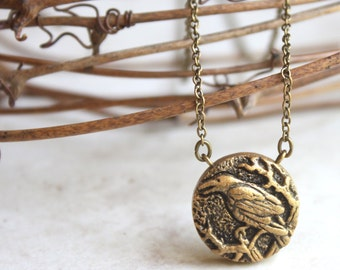 Crow Necklace, Gold Raven Pendant, Rook Charm, Silver Crow Necklace, Bird Jewelry, Crow Art, Nature Jewellery, Hand Carved, Bird Pendant