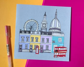 London Greetings Card - London Skyline Print - London Cityscape - London Gift - London Landmarks
