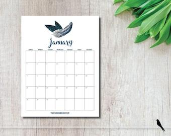 2018 Pretty Printable Wall Calendar - Flower, Feather, Arrow 12 Month Wall Calendar - Home Office Organizing - Instant Download Calendar