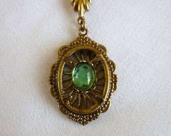 Brass Emerald Dangle Brooch, Victorian Green Cabochon Ribbon Dangling Brooch, Vintage Brass Jewelry