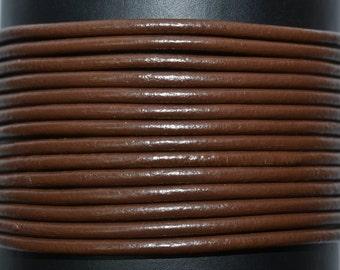Chocolate Brown - 1.5mm Leather Cord per yard