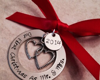 SALE!!  Our first christmas as mr and mrs christmas ornament wedding first christmas first christmas as Mr. and Mrs.