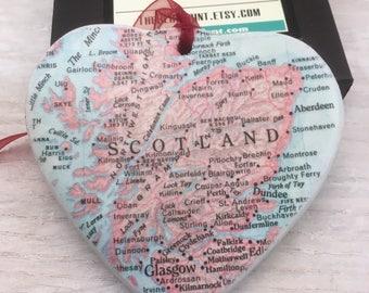 Scotland Map Christmas Ornament, College Travel Gift / HONEYMOON Gift / Wedding Map Gift / Travel Tree Ornament /Secret Sister