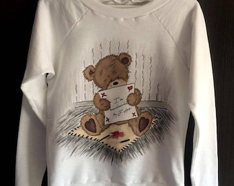Teddy Bear Blouse, Hand Painted Blouse, Hand Painted Teddy Bear, Art Clothing, Handmade, Hand Painted Clothing