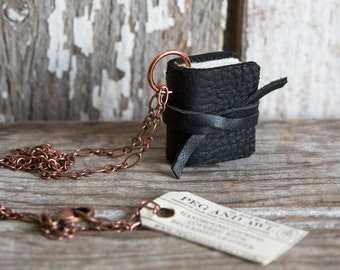 Miniature Leather Book Necklace Black, Mini Book Necklace, Book Jewelry, Coworker Jewelry Gift, Book Lover Gift, Secret Message Peg and Awl