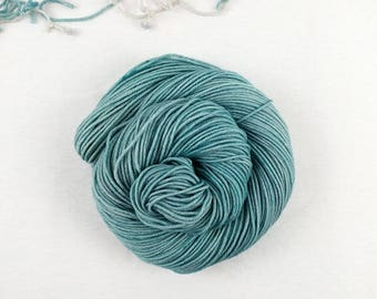 Sea Glass - pale teal gray semisolid tonal hand dyed yarn - fingering, sock, sport, DK, worsted - 100 grams - dyed to order