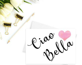 Ciao Bella note card, Thank you cards, Hello note cards,  Greeting cards blank inside, Cute stationery, Birthday cards, Italian cards