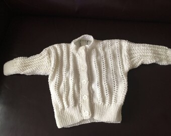 Hand knitted white cardigan