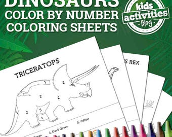 Dinosaur Color by Number Coloring Pages Sheets
