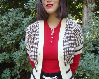 Vintage '70s Fitted Short-Sleeve Cardigan XS
