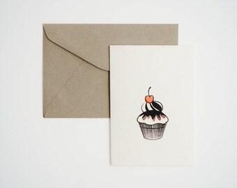 Cupcake with Cherry Top - Single Card - Screenprint
