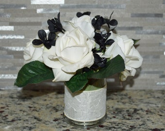 Real Touch Artificial Rose Arrangement In Vase With Blank Silk Flower Detail-6 Roses