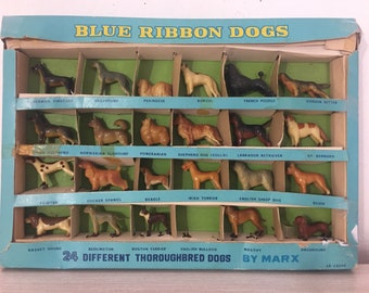Vintage Celluloid Blue Ribbon Thoroughbred Dogs By LOUIS MARX & Co ~ Sold Individually ~ 1950's Made In Hong Kong ~ Dog Figurines