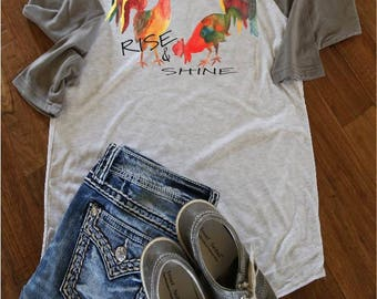 Gifts for mom/watercolor Roosters/Baseballtee/T shirt/roosters/morning/rise & Shine