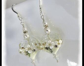 2396, Floral heart earrings, white floral earrings, wedding jewelry, wedding earrings, Wings of Love, hearts jewelry, Valentines Day jewelry