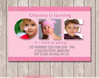 Number Collage Photo Personalised Birthday Invitation - YOU PRINT