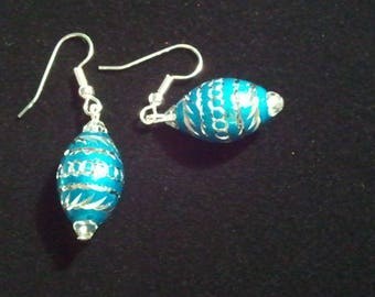 Turquoise Aluminum Laser Cut Bead and Crystal Handcrafted Dangle earrings