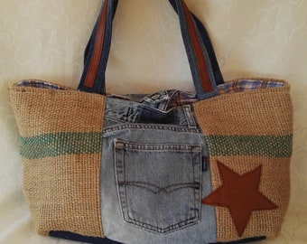 Shoulder bag JEANS and jute, Stella leather, handmade, gift idea, Mother's Day, gifts for her, birthday friend, grandma, vintage