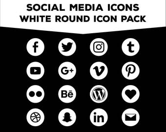 Social Media Icons - Round White PNG Files for Web, Blog, and Print