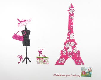 Iron on patch applique fusing fabric liberty Capel fuchsia Mason Eiffel Tower and Eloise pink seamless patch applique