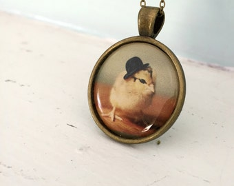 Photo Pendant of A Chicken Wearing a Tiny Black Bowler Hat Chicks in Hats Baby Animal Necklace