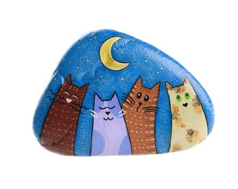 Hand-painted rock to hang with cats