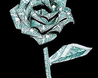 Money roses - money flower - origami money rose - dollar rose - US dollar bills - rose Gift