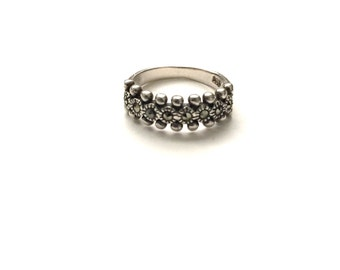 Vintage Sterling Marcasite Stacking Ring Size 5