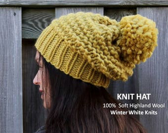 Knit pom pom hat, 100% Soft Highland Wool, Mustard knit hat, winter knit hat, pom pom knit hat, knit wool hat, knit winter hat, super soft