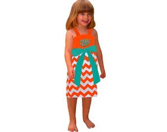Orange + Aqua Chevron Dress- Girls