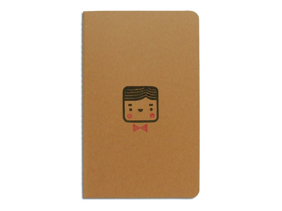 Cute Moleskine notebook Monsieur - Handstamped with cute character illustration - A5 / medium
