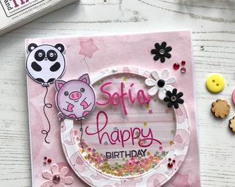 Panda birthday Card, personalised birthday card, card with name,  pink card, shaker card, luxury card, black and white, piglert card