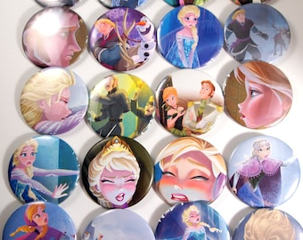 10  Upcycled Frozen Buttons - Frozen Party Favors - Frozen Birthday Party - Frozen Guest Favors - Frozen Party - Frozen Party Buttons