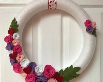 Rose Valentine Yarn Wreath