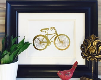 Bicycle Wall Art Gold Foil Print, Vintage Bike Picture, Poster, Home Decor
