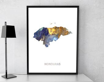 Honduras poster, Honduras art, Honduras map, Honduras print, Gift print, Poster