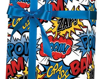 SuperHero Bow Pow Gift Wrap Wrapping Paper 15ft Roll
