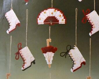 """Bucilla Pre-Cut Plastic Canvas Needlepoint  Kit  """"Antiques"""" 12 piece ornament set"""