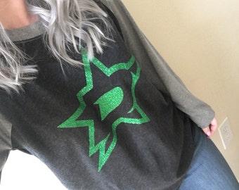 Dallas Stars Shirt - Raglan - Glitter - Hockey