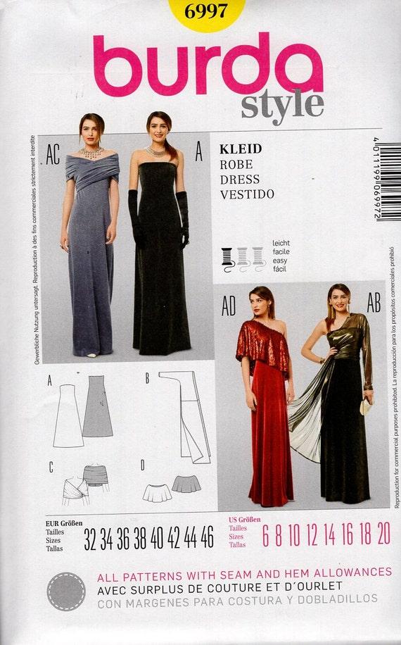 6997 Burda Schnittmuster kostenlos uns Abend Länge Kleid Kleid ...