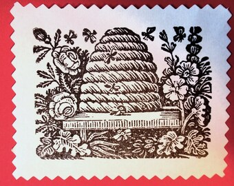 Bee Hive Skep v2 Rubber Stamp Photopolymer - Handmade by BlossomStamps
