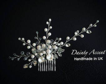Crystal and Pearl Beaded Bridal Hair Comb, Crystal Bridal Headpiece, Pearl and Crystal Wedding Headdress