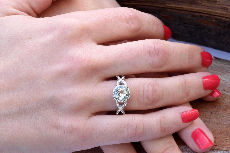 Aquamarine engagement ring-Celtic diamond ring-Halo Engagement ring ...